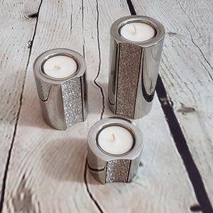 Swarovski Ambiray Stainless Tea Light Holder Set